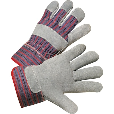 Anchor Leather Palm Gloves, Cowhide, Leather, Gray, Striped Back, Size Large, 12/Box