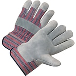 Anchor Brand Leather Palm Gloves, Split Cowhide, Rubberized Safety Cuff, L Size, Pearl Grey