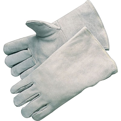 Anchor Brand Economy Welding Gloves, Leather, Gauntlet Cuff, L Size, Grey, 12 Pair / Box
