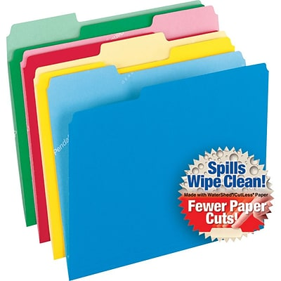 Pendaflex® CutLess® WaterShed® Colorful Top Tab File Folders, 3Tab, Letter, Assorted, 100/Bx (48434)