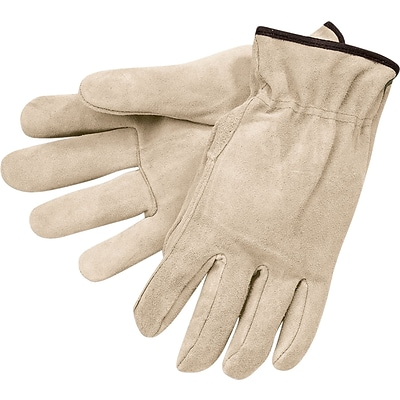 Memphis Gloves® Drivers Gloves, Split Cow Leather, Slip-On Cuff, Large, Russet, 12 Pair/Box