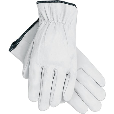 Memphis Gloves® Drivers Gloves, Goatskin Leather, Slip-On Cuff, L Size, White, 12 PRS