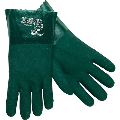 Memphis Gloves® Double Dipped Gloves, PVC, 14 Gauntlet Cuff, L Size, Green, 12 PRS