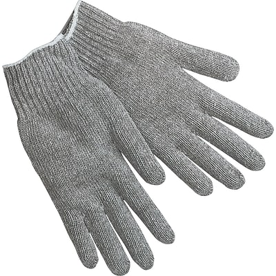 Memphis Gloves® String Knit Gloves, Cotton/Polyester, Hemmed Cuff, L Size, Grey, 12 PRS