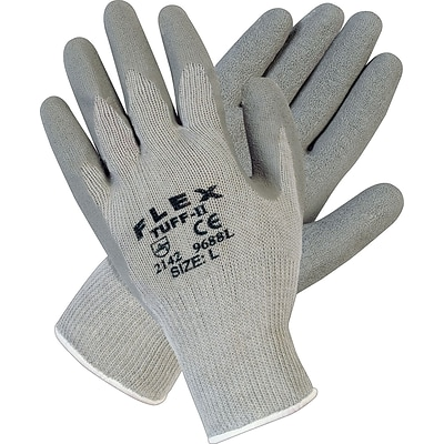 Memphis Gloves® Flex-Tuff II® Coated Gloves, Cotton/Polyester, Knit-Wrist Cuff, XL Size, Grey