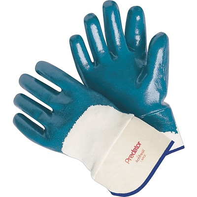 Memphis Gloves® Predator® Palm Coated Gloves, Nitrile, Lined Safety Cuff, L Size, Blue, 12 Pair/Box