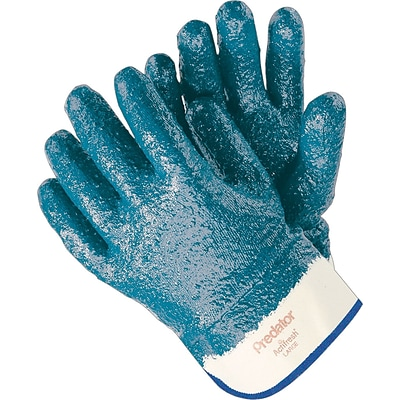 Memphis Gloves® Predator® Fully Coated Gloves, Nitrile, Lined Safety Cuff, Large, Blue, 12 Pair/Box