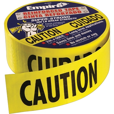Empire® Level Safety Barricade Tapes, Yellow, Caution/Cuidado, 200 Length