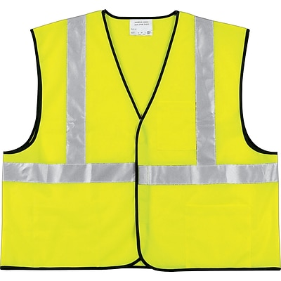 MCR Safety® Class II Economy Safety Vests, Polyester, L Size, Hook & Loop, Lime