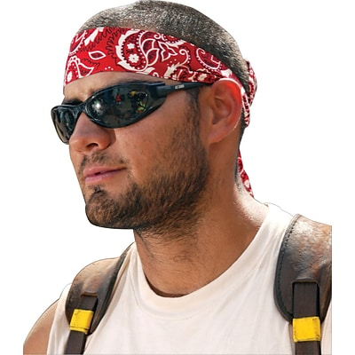 Ergodyne® Chill-Its® Bandana/Headband, Cotton, One Size, Tie,  Red Western, 24/Pack