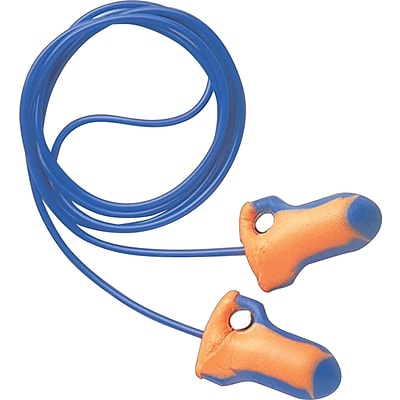 Howard Leight® Laser Trak® Corded Detectable Earplugs, Orange/Blue, 32 dB, 100/BX
