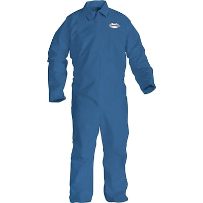KleenGuard® Flame Resistant Coverall, Spunlace Nonwoven, 2XL Size, Zipper Front, Blue, 25/CT