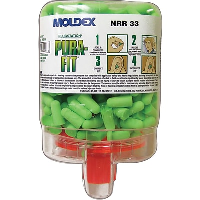 Moldex® Pura-Fit® PlugStation® Uncorded Earplug Dispensers, Bright Green, 33 dB, 250/BX