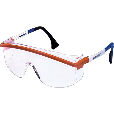 Sperian Astrospec 3000® Safety Spectacle, Polycarbonate, Adjustable Temples, Clear, Red/White/Blue