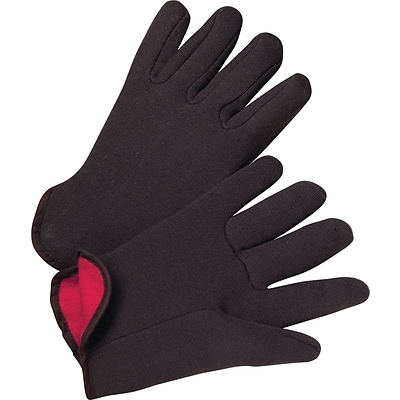 Large New 12 Pairs 100/% Cotton Mens  Brown Jersey Red Fleece Lined Gloves