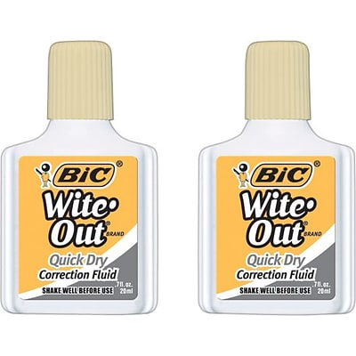 BIC® Wite-Out® Brand Correction Fluids, Quick Dry, Buff, 2/Pack