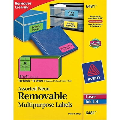 avery high visibility removable multipurpose laser labels 10 labels