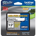 Brother TZ-EAF231 Label Maker Tape, 0.47W, Black On White