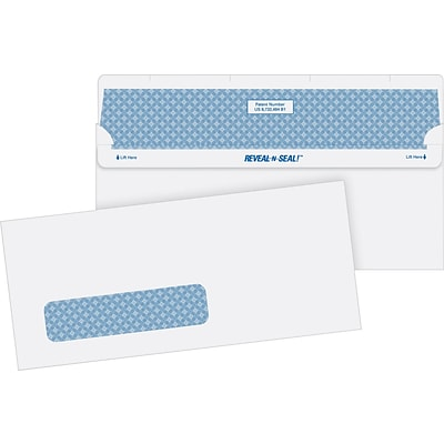 Quality Park® Instant Seal #10 Single Window Security Envelopes, Reveal-N-Seal, 500/Box