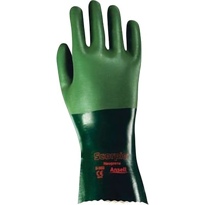 Ansell® Scorpio® Neoprene Coated Gloves, Interlock Knit, Gauntlet Cuff, Size 10, Green, 12 Pair/Box