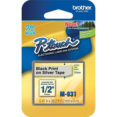 Brother® M Series Non-Laminated Label Tape, 1/2 x 26-1/5, Black on Silver
