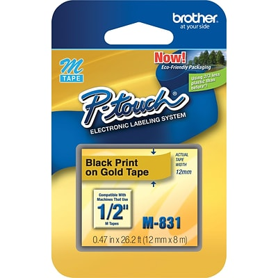 Brother® M Series Non-Laminated Label Tape, 1/2 x 26-1/5, Black on Gold