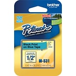 Brother® M531 Black on Blue Label Tape, 1/2 x 26-1/5