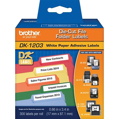 Brother Genuine DK-1203 Label Printer Labels, 3.4W, White, 300/Roll