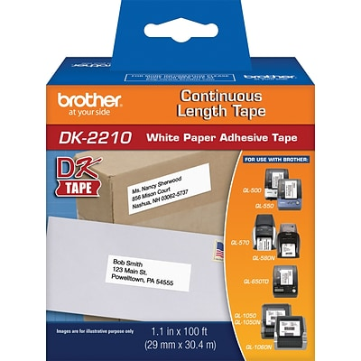 Brother® DK Series Printer Label Tape, 1-1/7x100, Continuous Tape