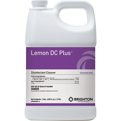 Brighton Professional™ Lemon DC Plus™ Disinfectant Cleaner, Lemon Scent, 1 Gallon, 4/Ct