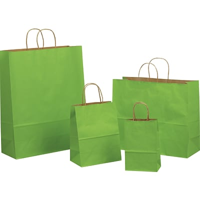 Tinted Color Shadow Apple Green with Stripe Shopping Bag, Size 16 W x 6 D x 19-1/4 H