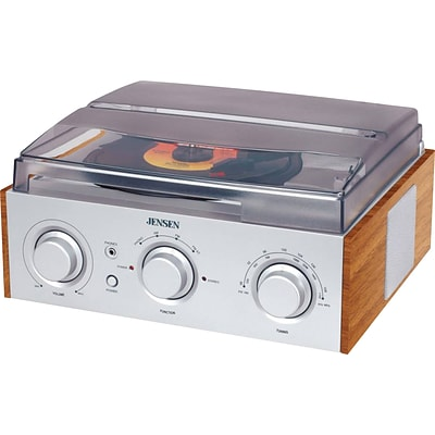 Jensen® JTA-220 Three-Speed Stereo Turntable, With AM/FM Stereo Radio