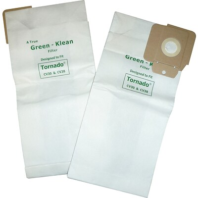 Green Klean® Commercial Vacuum Replacement Bags, For Tornado CV30, CV38 12 and 15, NSS Pacer 112/115