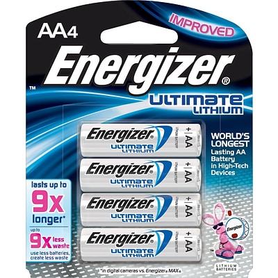 Energizer® Ultimate Lithium Batteries, AA, 4/Pack