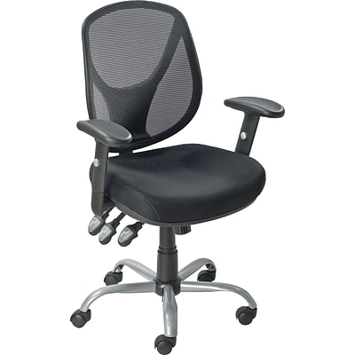 Quill Brand® Acadia Ergonomic Mesh Mid Back Office Chair With Arms, Black
