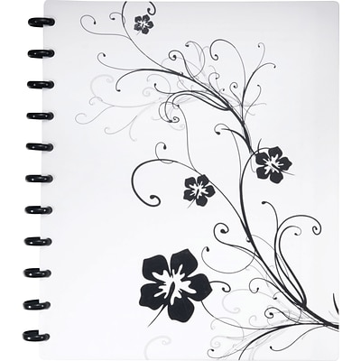 Arc Customizable Hibiscus Design Notebook System, Black & White, 9-3/8 x 11-1/4