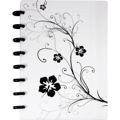 Arc Customizable Hibiscus Design Notebook System, White & Black, 6-3/8 x 8-3/4, 1 per Pack