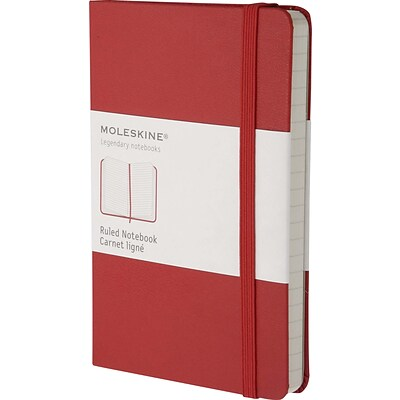Moleskine Classic Notebook, Pocket, Ruled, Red, Hard Cover, 3-1/2 x 5-1/2