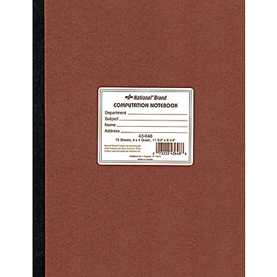 National® Quad Ruled Computation & Lab Notebook, 9-1/4 x 11-3/4, 75 Sheets
