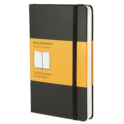 Moleskine® Classic Notebook, Pocket, Ruled, Black, Hard Cover, 3-1/2 x 5-1/2