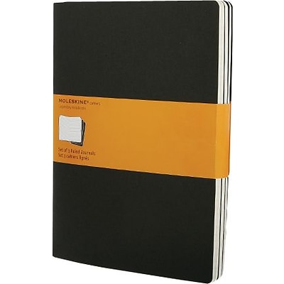 Moleskine Cahier Journal, Set of 3, Extra Large, Plain, Black, Soft Cover, 7-1/2 x 10