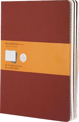 "Moleskine Cahier Journal, Set of 3, Extra Large, Ruled, Cranberry Red, Soft Cover, 7-1/2"" x 10"""