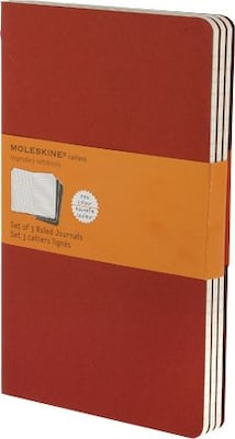 "Moleskine Cahier Journal, Set of 3, Large, Ruled, Cranberry Red, Soft Cover, 5"" x 8-1/4"""