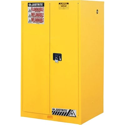 Justrite Safety Cabinets for Flammables, Yellow, 90 Gallon