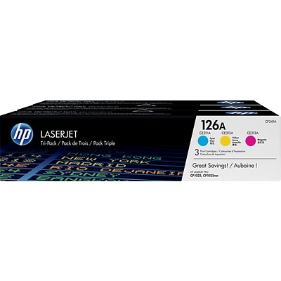HP 126A (CF341A) Cyan/Magenta/Yellow Original LaserJet Toner Cartridges, Multi-pack (3 cart per pack)
