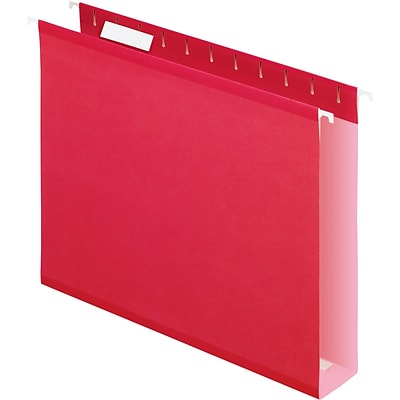 Pendaflex® Box-Bottom Colored Hanging File Folders, 2 Expansion, Red, Letter, Holds 8 1/2H x 11W, 25/Bx