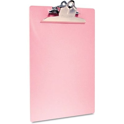 Saunders Pink Recycled Plastic Clipboard, 1 Capacity, Holds 8 1/2W x 12H, Pink