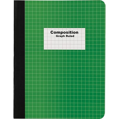 Quill Brand® Composition Notebook, Green, Graph Ruled, 9 3/4 x 7 1/2, 100 Sheets