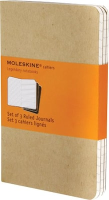 "Moleskine Cahier Journal, Set of 3, Extra Large, Ruled, Kraft Brown, Soft Cover, 7-1/2"" x 10"""