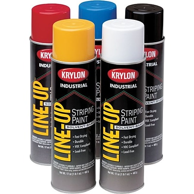 Krylon® Line-Up® Pavement Striping Paint, Solvent,  Highway Yellow, Aerosol, 18 oz., 12 Yellow/Carton